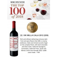VIK Milla Cala 2012 Ranked #22 in Wine Spectator's Top 100 of 2018