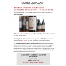 "Bodega Norton's Coleccion Cabernet Sauvignon 2018 ""Simply Good"" by Reverse Wine Snob"