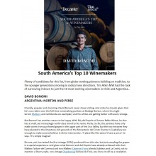 David Bonomi Named South America's Top 10 Winemakers by Decanter