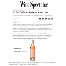 Wine Spectator's 10 Fun CA Roses for $20 Less Featured Tenshen Rose 2018