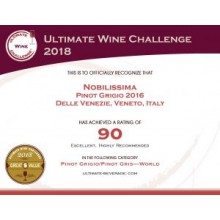 Nobilissima Pinot Grigio Receives 90 Points at Ultimate Wine Challenge 2018