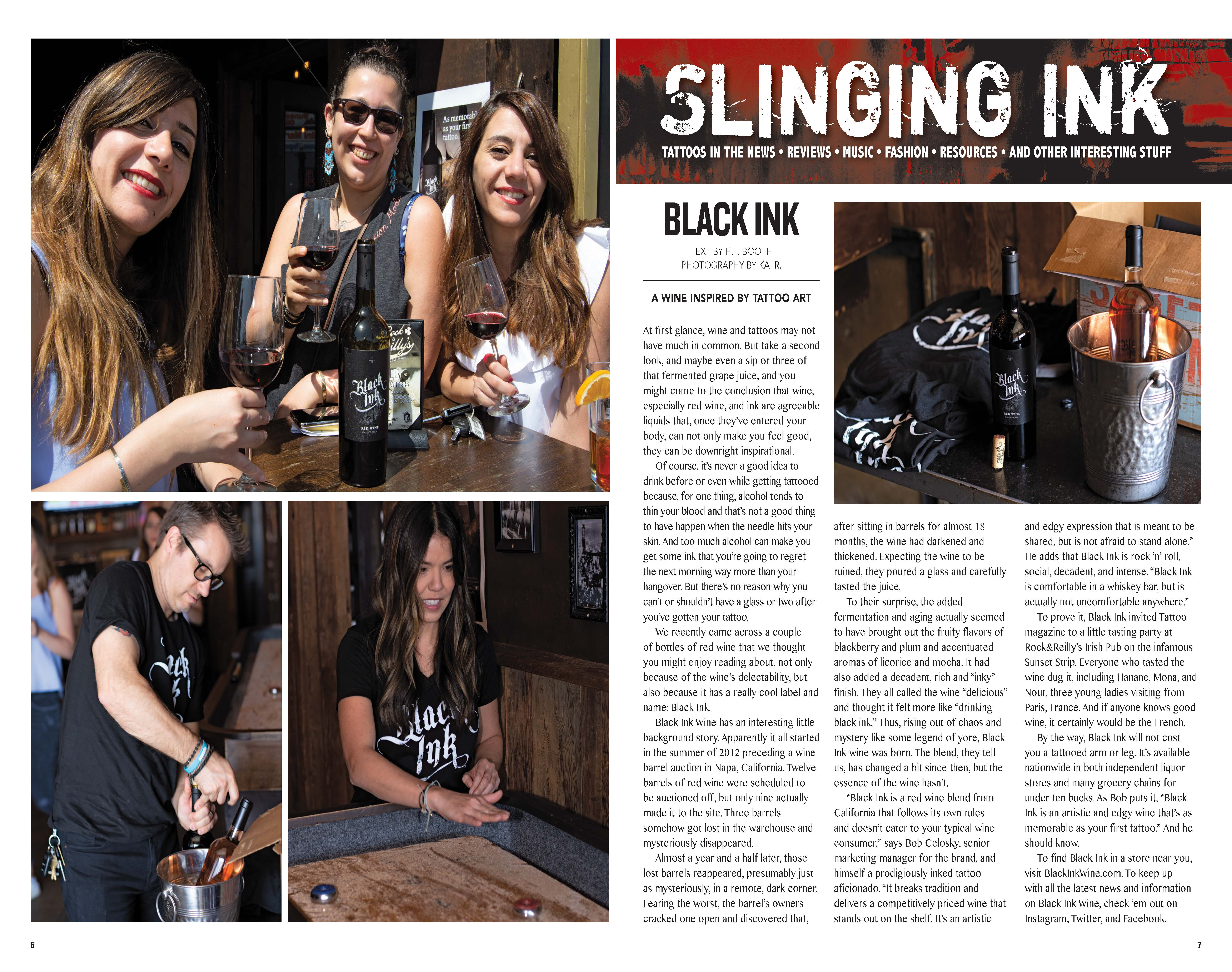 Black Ink Featured in Tattoo Magazine - Guarachi Wine Partners